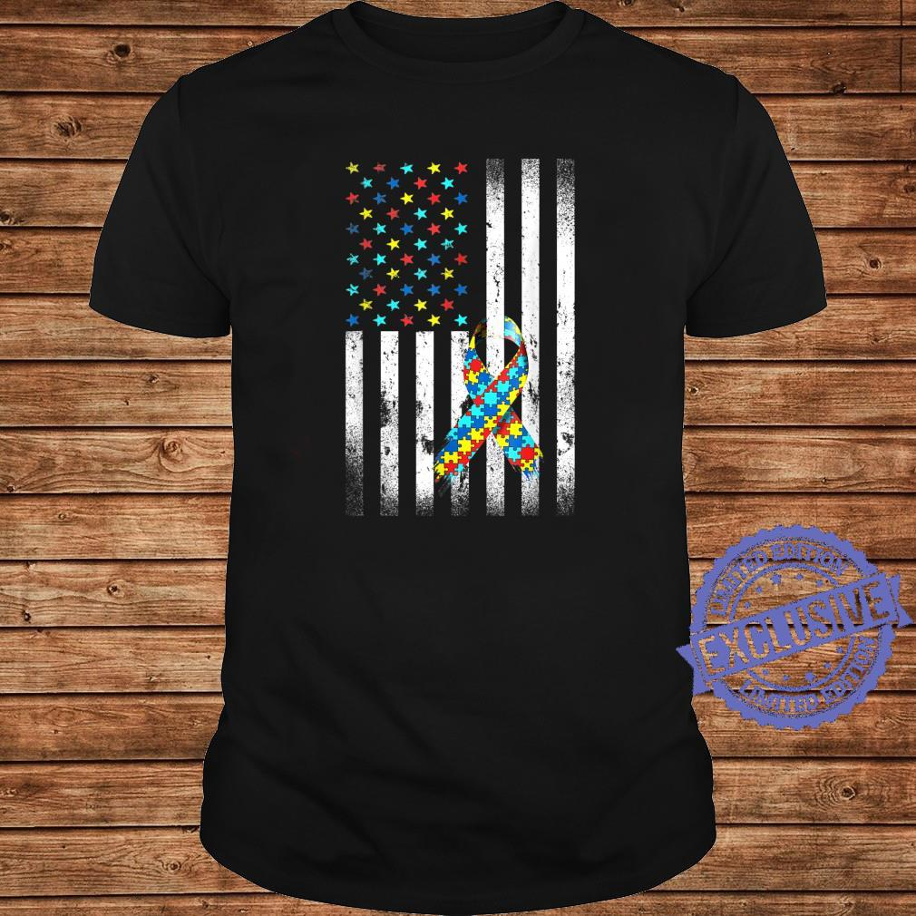 Autism Awareness Distressed American Flag Puzzle Ribbon Shirt long sleeved