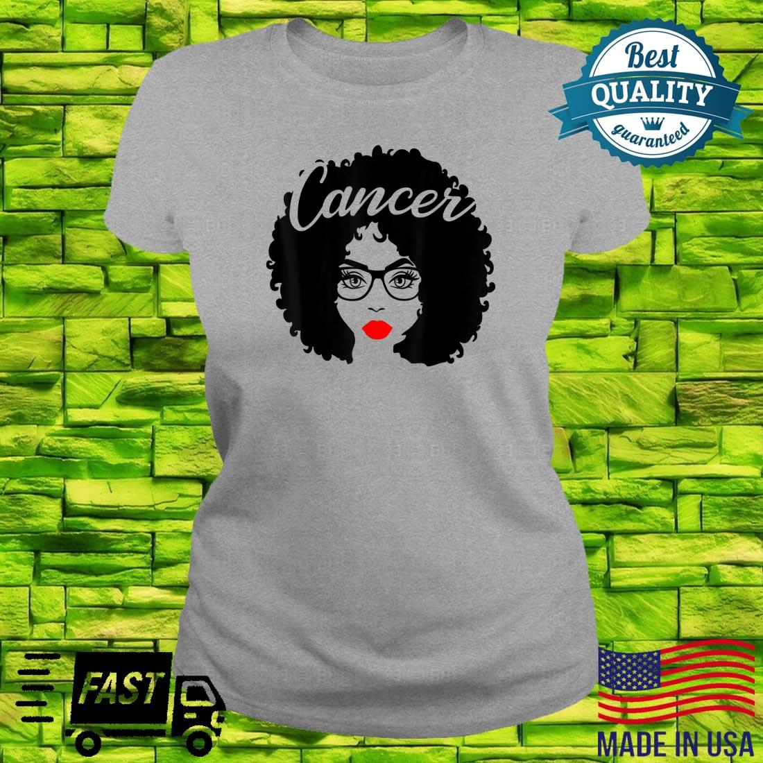 Black Queen Birthday Red Lips Afro Diva Cancer Zodiac Shirt ladies tee