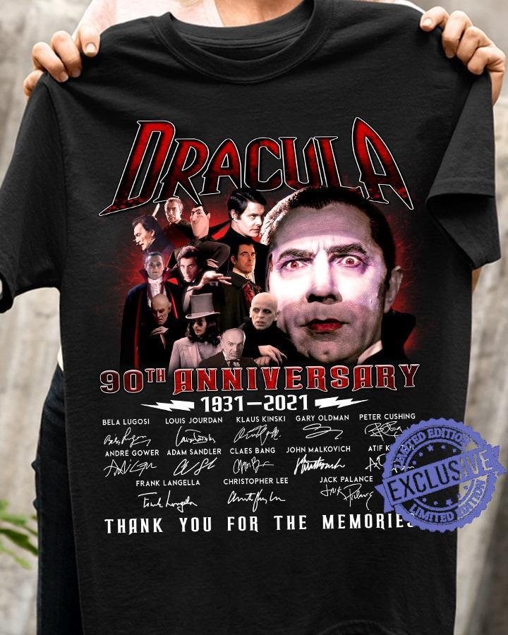 Dracula 90th anniversary 1931-2021 signatures thank you for the memories shirt