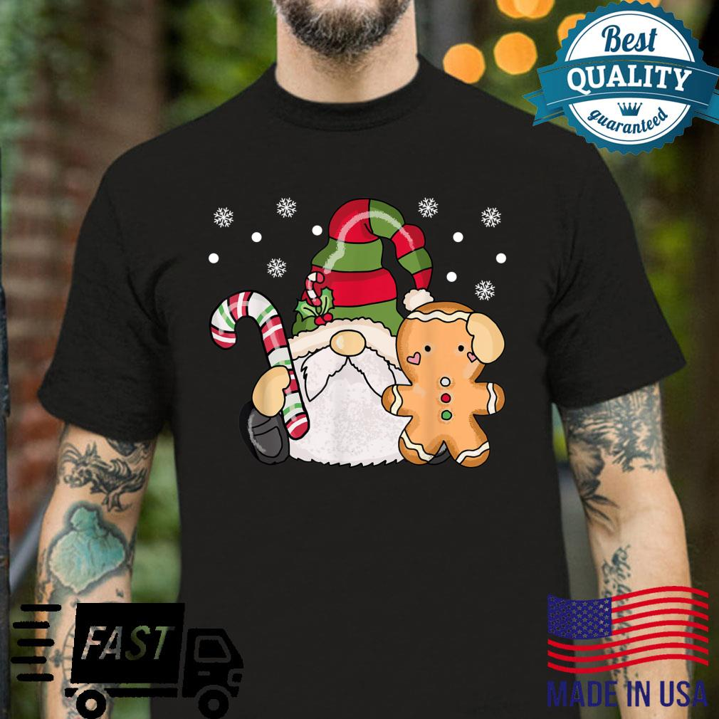 Holiday Gnome with Candy Cane and Gingerbread Christmas Shirt